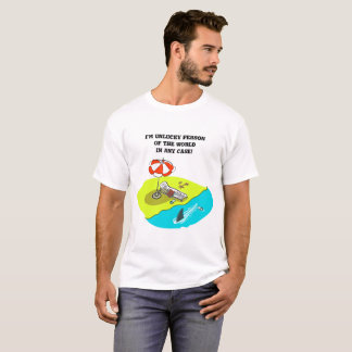 unlucky person funny cartoon beach and shark fin T-Shirt