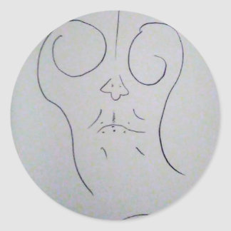 Unphoto Unrealism of Sartre Dominico  Caveman Classic Round Sticker