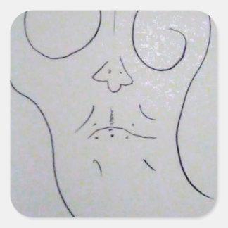 Unphoto Unrealism of Sartre Dominico  Caveman Square Sticker