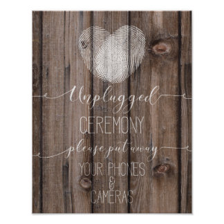 unplugged ceremony rustic wood wedding sign Print
