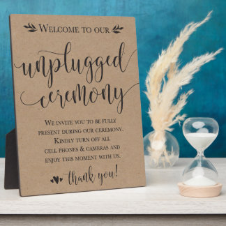 Unplugged Wedding Ceremony Sign Plaque 8x10