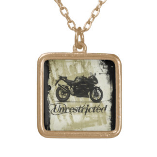 UNRESTRICTED GRUNGE MOTORCYCLE MOTORBIKE GANG MOTT GOLD PLATED NECKLACE