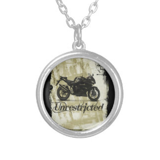 UNRESTRICTED GRUNGE MOTORCYCLE MOTORBIKE GANG MOTT SILVER PLATED NECKLACE