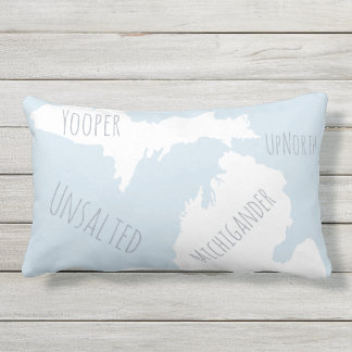 Unsalted Michigan Map Yooper Michigander Up North Lumbar Pillow
