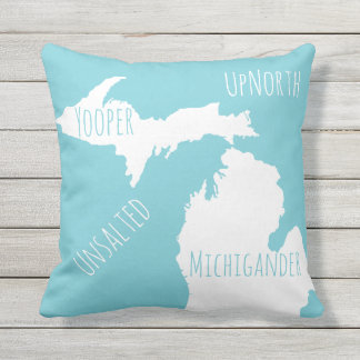 Unsalted Michigan Map Yooper Michigander Up North Throw Pillow