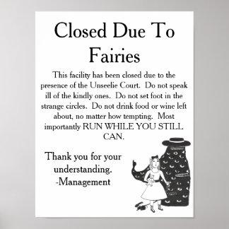Unseelie Fairies Warning Sign