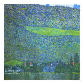 "Unterach at Attersee by Klimt, Vintage Art Nouveau 5.25"" Square Invitation Card"