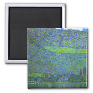 Unterach at the Attersee by Gustav Klimt Square Magnet
