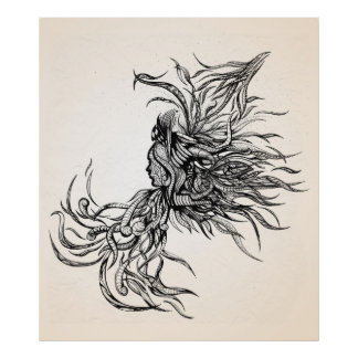 Untethered, abstract pen and ink drawing poster