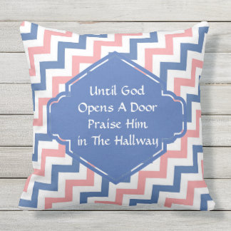 Until God Opens A Door Chevron Pillow
