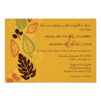 """Until We Fall In Love""-3x5Fall Wedding Invitation"