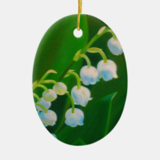 Untitled Lily of the Valley Ceramic Oval Ornament