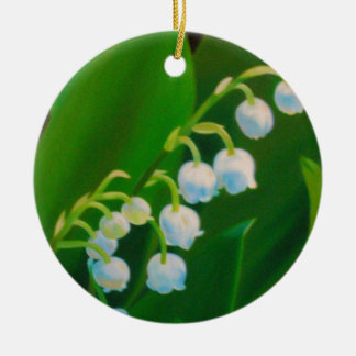 Untitled Lily of the Valley Round Ceramic Ornament