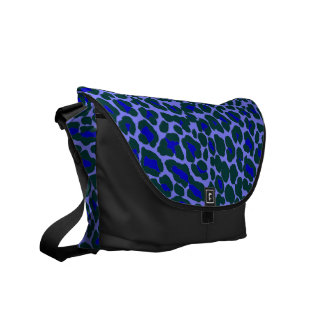 unusual blue and green leopard skin print courier bag