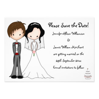 Unusual Bride and Groom Cartoon Save the Date Personalized Invite