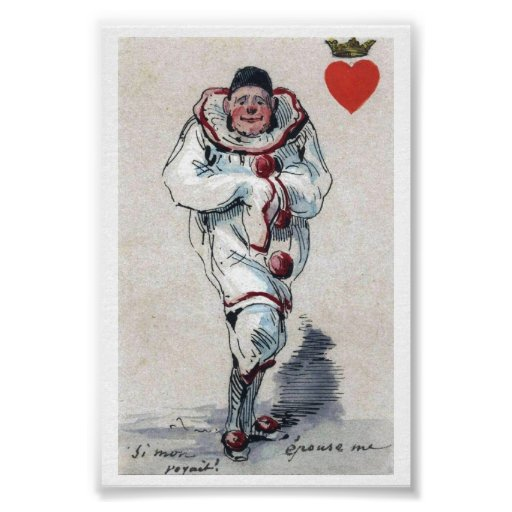 Unusual Clown King of Hearts Playing Card Image Posters