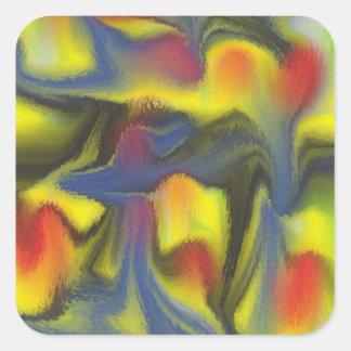 Unusual colorful art square sticker