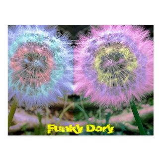 Unusual Funky Blue/ Lilac Flowers Pop Art Postcard