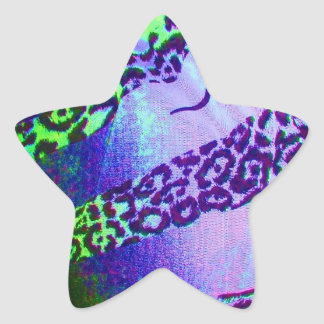 Unusual Leopard Print in Tropical Colors Star Sticker