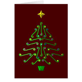 Unusual modern pixel art Christmas Tree Card