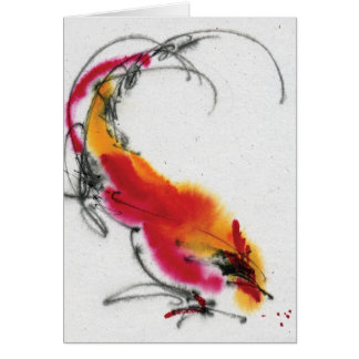 Unusual Rooster. Calligraphy and watercolor. Card