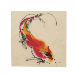 Unusual Rooster. Calligraphy and watercolor. Wood Prints