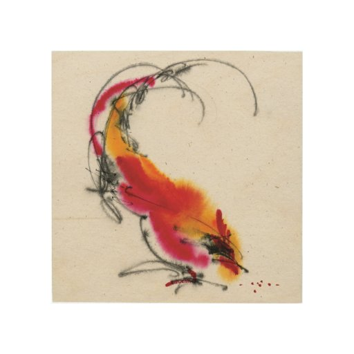 Unusual Rooster. Calligraphy and watercolor. Wood Canvas