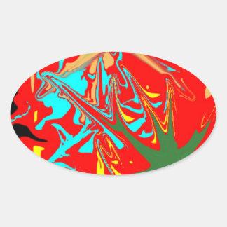 Unusual ugly pattern oval sticker