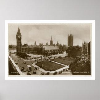 Unusual view Parliament Square vintage photo Poster