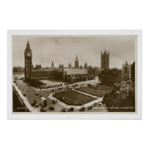 Unusual view Parliament Square vintage photo Poster