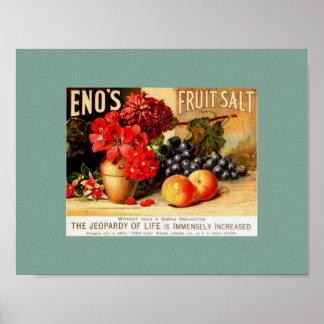 Unusual VINTAGE FRUIT FLORAL ENO S FRUIT SALT Posters