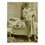 Up at 3 am New Father Dad Vintage Stereoview Postcard