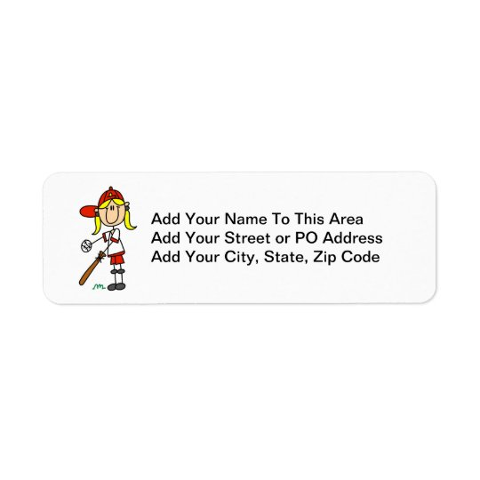 Up At Bat Girl Stick Figure Baseball Gifts Return Address Label