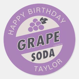 UP Birthday | Grape Soda Birthday Round Sticker
