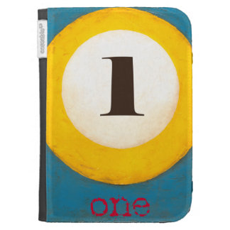 Up Close Painting of Number One Pool Ball Kindle Covers