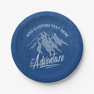 Up For Adventure Mountains White ID358 7 Inch Paper Plate