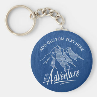 Up For Adventure Mountains White ID358 Basic Round Button Keychain