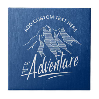 Up For Adventure Mountains White ID358 Ceramic Tile
