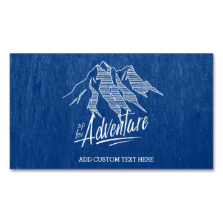 Up For Adventure Mountains White ID358 Magnetic Business Card