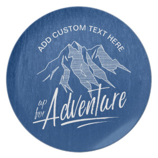 Up For Adventure Mountains White ID358 Plate