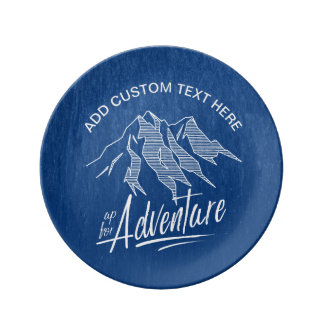 Up For Adventure Mountains White ID358 Porcelain Plates