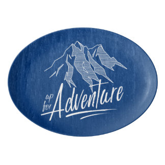 Up For Adventure Mountains White ID358 Porcelain Serving Platter