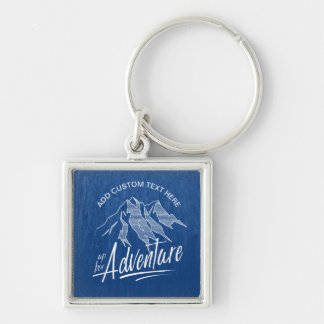 Up For Adventure Mountains White ID358 Silver-Colored Square Keychain
