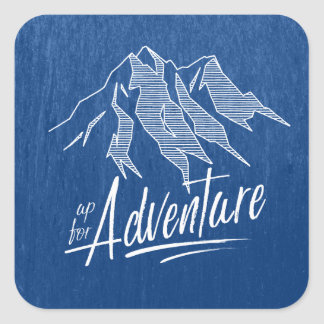 Up For Adventure Mountains White ID358 Square Sticker