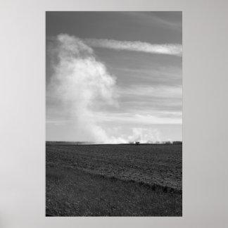 """Up in Smoke"" Black & White Version Rural Landcape Poster"