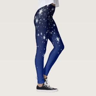 Up In The Sky - White Stars on Blue Leggings