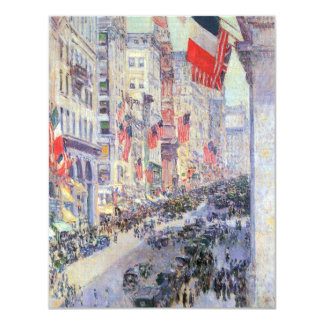 Up the Avenue from 34th Street, May 1917 by Hassam 4.25x5.5 Paper Invitation Card
