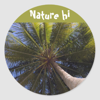 up the coconut tree round sticker