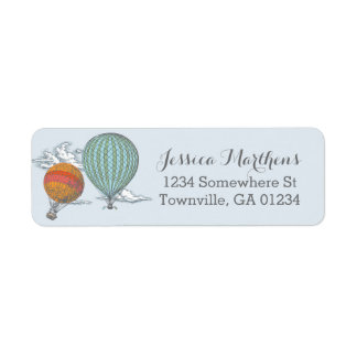 Up Up and Away Vintage Hot Air Balloon Mail Return Address Label