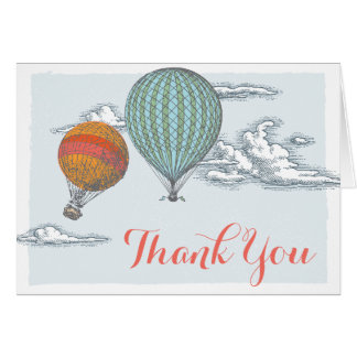 Up Up and Away Vintage Hot Air Balloon Thank You Card